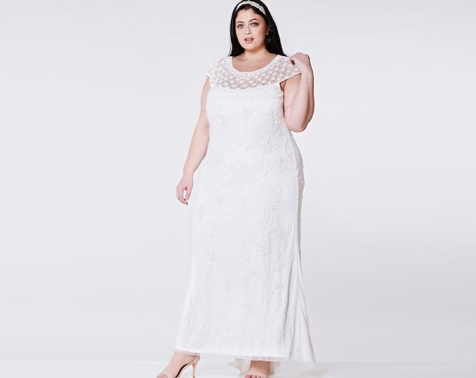 US14 UK18 AUS18 EU46 Wedding Reception Gown Off White Prom Maxi Elizabeth Dress 20s Flapper Great Gatsby Downton Abbey Beach Art deco Boho