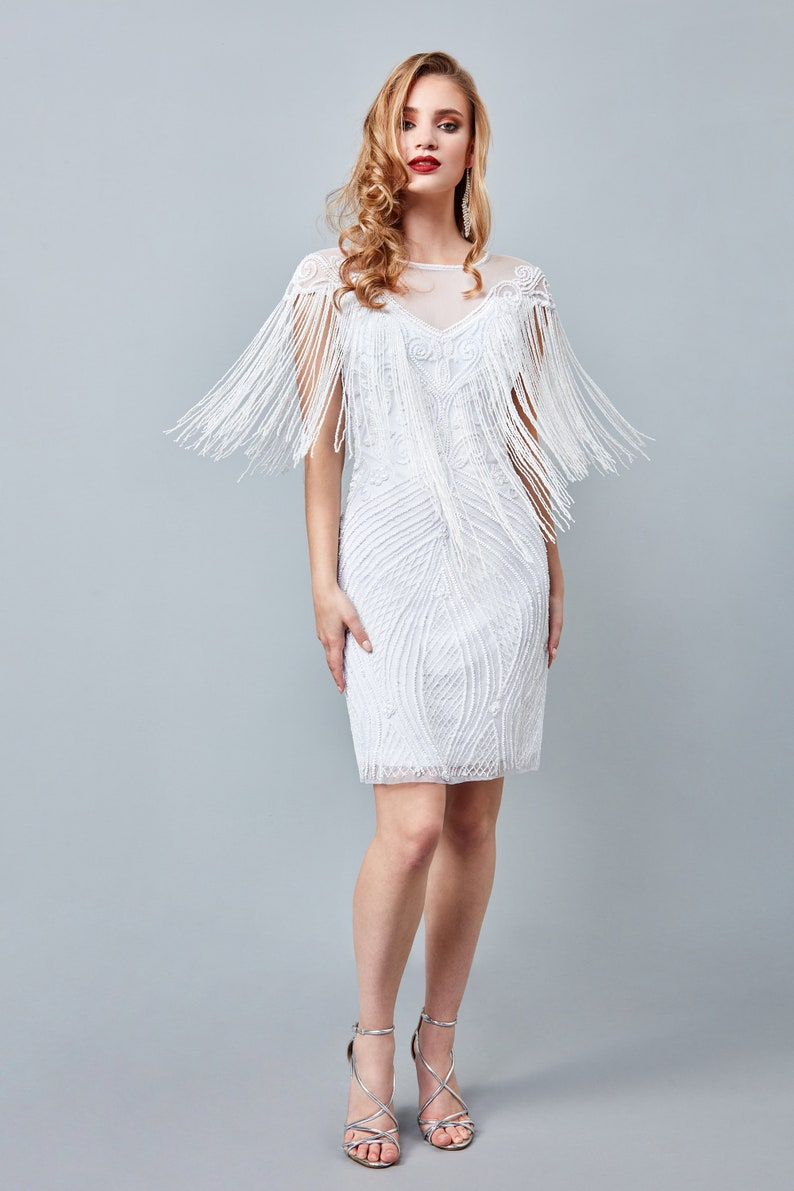 White Flapper Dresses, White 1920s Dresses Channel White Bridal Fringe Dress 1920s Vintage inspired Great Gatsby Art Deco Charleston Downton Abbey Bridesmaid Wedding $154.94 AT vintagedancer.com