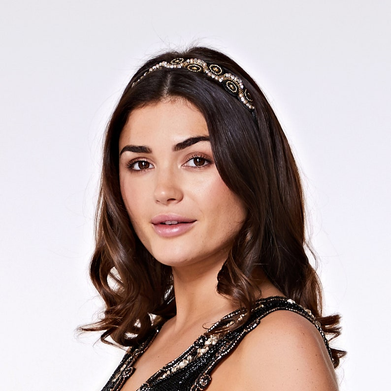 Black Gold Eliza Great Gatsby Flapper Wedding Headband Vintage image 0