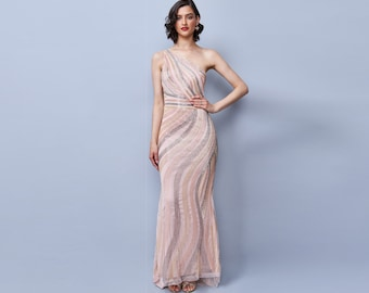 CocoSingle Shoulder Maxi Dress in Blush Pink 20s Great Gatsby Art Deco Downton Abbey Charleston Bridesmaid Wedding reception Bridal shower