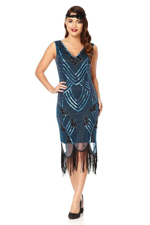Juliet Teal Black Flapper Fringe Dress 1920s Great Gatsby  0959987f0fbd