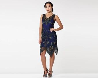 Canada Duty Free Shipping Emma Navy Blue Flapper Dress with Slip 20s Great Gatsby Art Deco Charleston Bridesmaids Wedding Guest Jazz dress