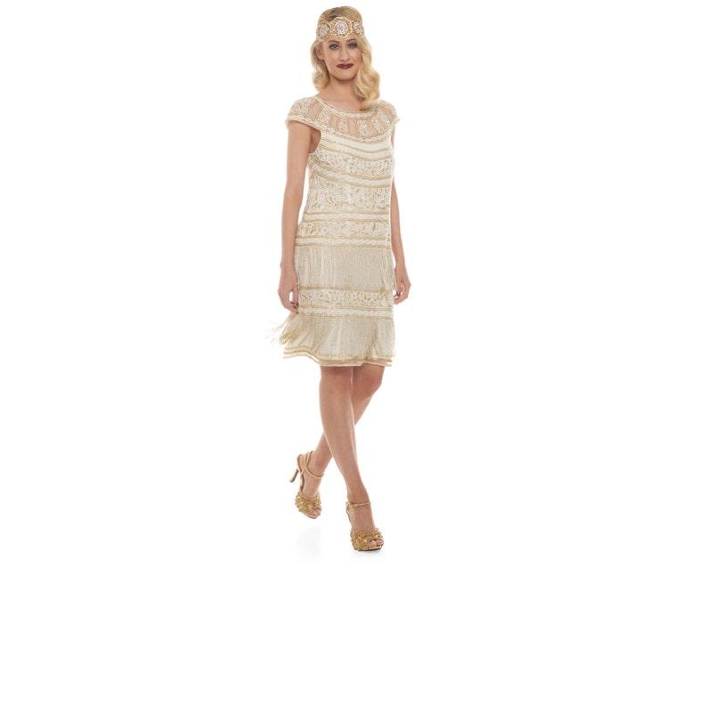 US8 UK12 AUS12 EU40 Ivory Gold Flapper Clara Fringe Dress 20s Great Gatsby ArtDeco Downton Abbey Bridesmaid Wedding Receptions Bridal Shower
