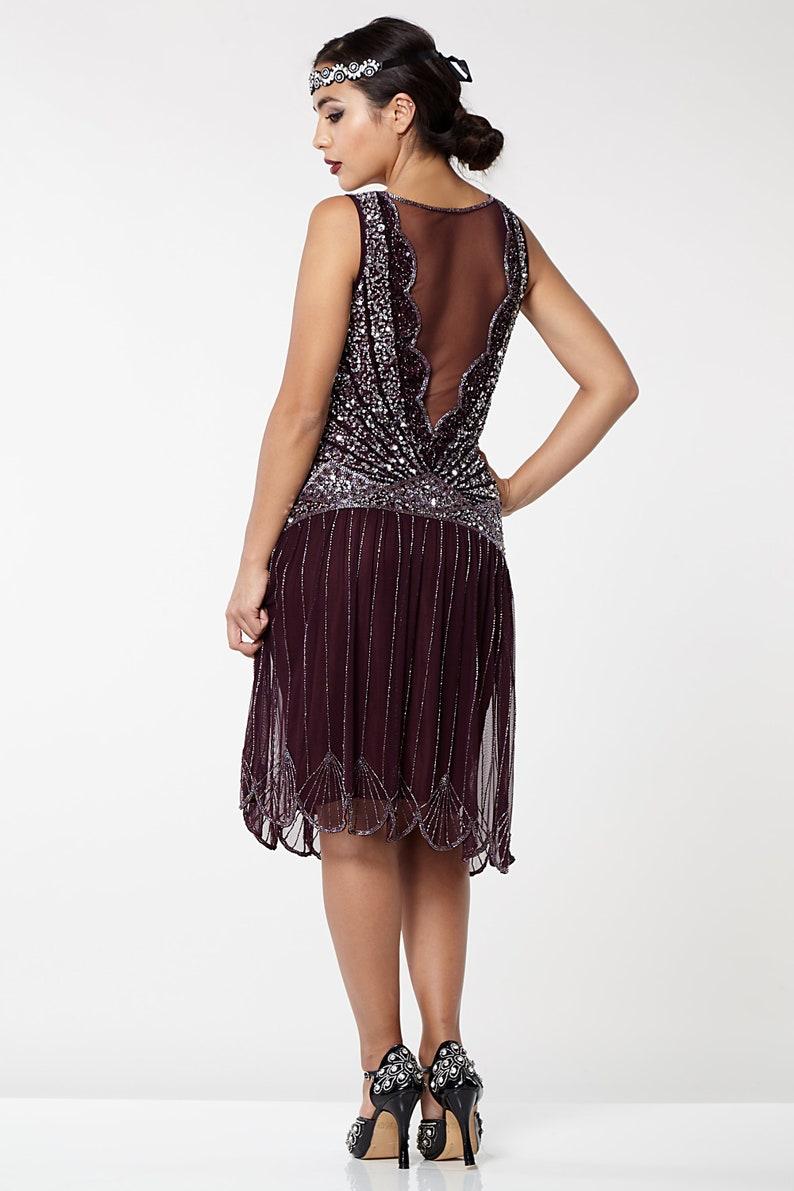 US16 UK20 AUS20 EU48 Plus Size Plum Elaina Flapper Dress 20s Great Gatsby Charleston Bridesmaid Wedding guest Bridal Shower Jazz age