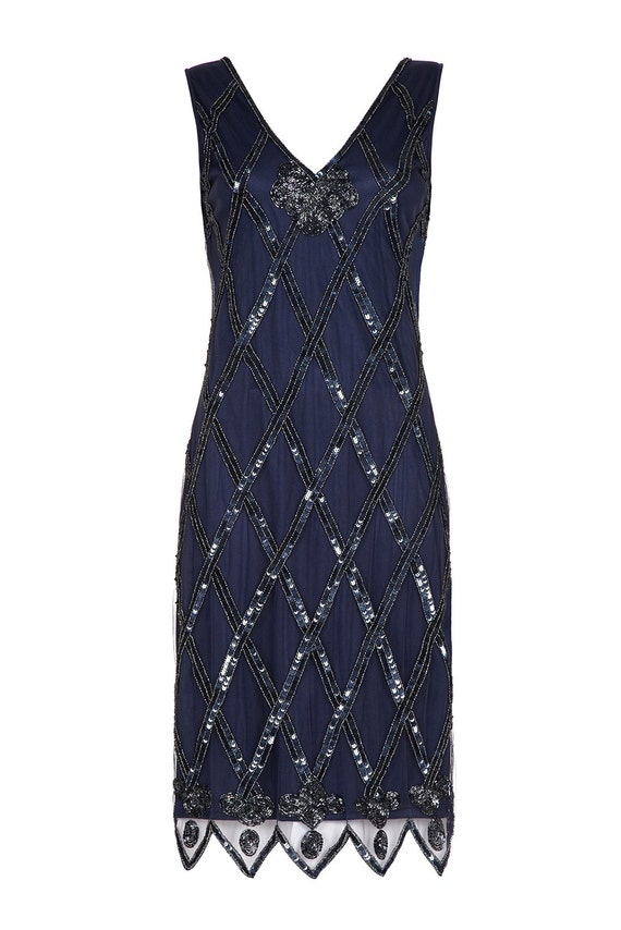 Plus Size Liz Navy Blue Vintage Inspired 20s Flapper Dress
