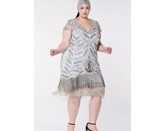 Vegas Grey Silver Plus Size Flapper Dress Slip Included 1920s inspired Great Gatsby Art Deco Charleston Downton Abbey Bridesmaid Wedding