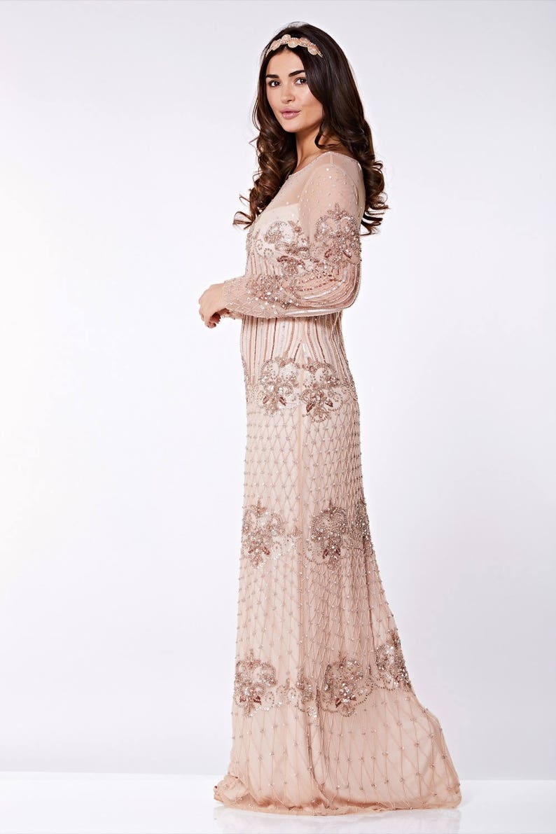 Canada Duty Free Shipping Champagne Prom Maxi Dress Dolores 20s Great Gatsby Charleston Downton Abbey Wedding Bridesmaids Homecoming New