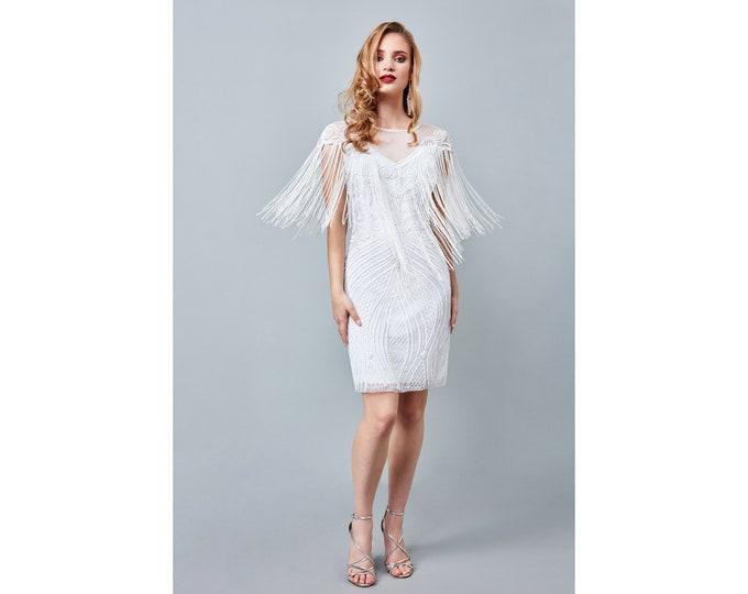 Channel White Bridal Fringe Dress 1920s Vintage inspired Great Gatsby Art Deco Charleston Downton Abbey Bridesmaid Wedding