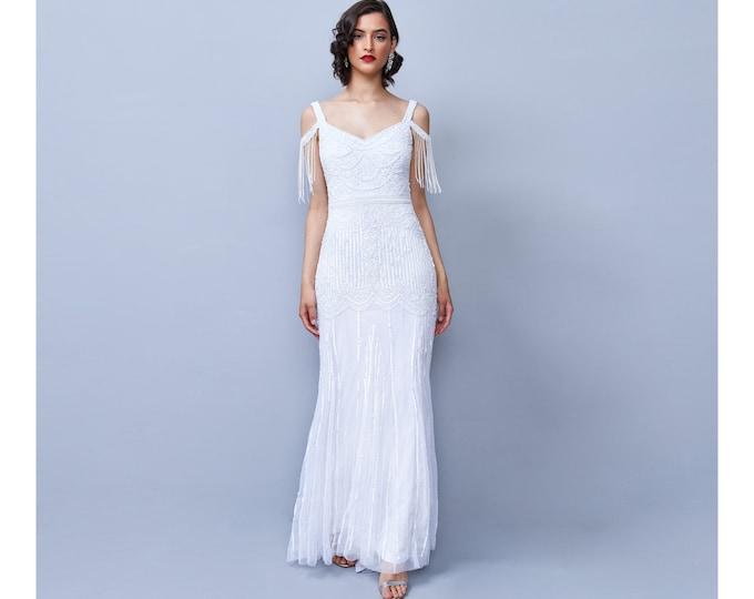 Chloe Wedding Gown Open Back Maxi Prom Dress 1920s Great Gatsby Art Deco Downton Abbey Bridesmaid Wedding reception