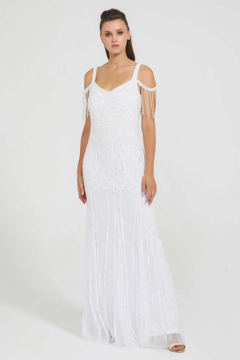 1920s Wedding Dresses- Art Deco Wedding Dress, Gatsby Wedding Dress Chloe Wedding Gown Open Back Maxi Prom Dress 1920s Great Gatsby Art Deco Downton Abbey Bridesmaid Wedding reception $260.25 AT vintagedancer.com