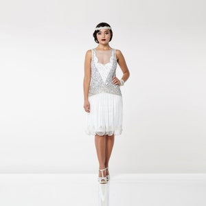 1920s Wedding Dresses- Art Deco Wedding Dress, Gatsby Wedding Dress Off White Silver Elaina Flapper Dress 1920s Great Gatsby Art Deco Downton Abbey Bridesmaid Wedding reception Bridal Shower Rehearsal Dinner $129.40 AT vintagedancer.com