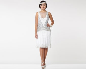 Off White Silver Elaina Flapper Dress 1920s Great Gatsby Art Deco Downton Abbey Bridesmaid Wedding reception Bridal Shower Rehearsal Dinner