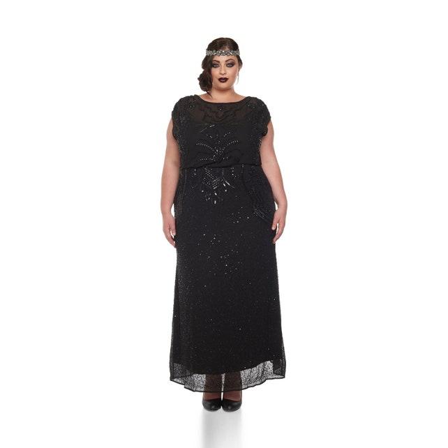 Us18 Uk22 Aus22 Eu50 Plus Size Isla Black Prom Maxi Dress 20s