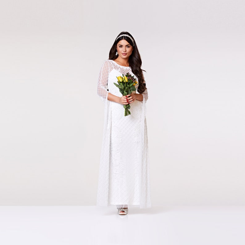 2ebe8c419e7 Eugine White Wedding Gown Prom Maxi Dress with Long Sleeves | Etsy