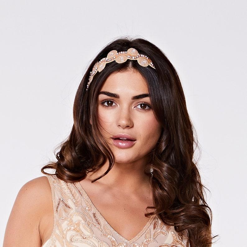Blush Silver Eliza Great Gatsby Flapper Wedding Headband image 0