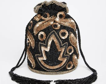 Vintage Inspired Vegas Bucket Pouch clutch purse bag Black Gold Wedding Bridal Bridesmaids Embellished 20s Great Gatsby Flapper Art Deco