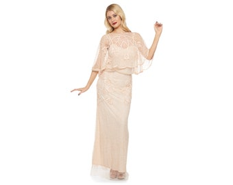 Plus Size Chicago Champagne Blush Plus size Prom Maxi Dress Vintage inspired 20s Flapper Great Gatsby Art Deco Bridesmaid Wedding Hand made