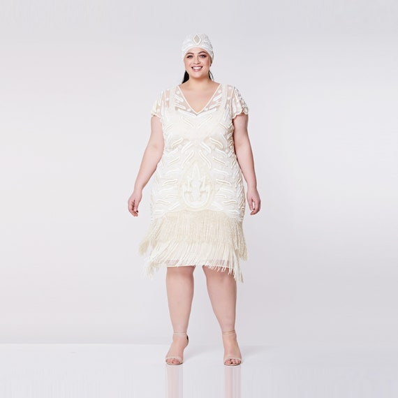 Plus Size Vegas Cream Dress 1920s Great Gatsby Art Deco Downton Abbey  Bridesmaid Beach Wedding reception Bridal Shower Rehearsal Dinner