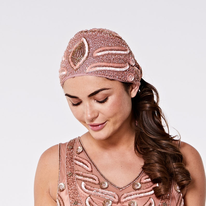 1920s Accessories: Feather Boas, Cigarette Holders, Flasks Hollywood Rose Gold hand made head piece Turban Great Gatsby Flapper Vintage inspired 20s Downton Abbey Art Deco Speakeasy  AT vintagedancer.com