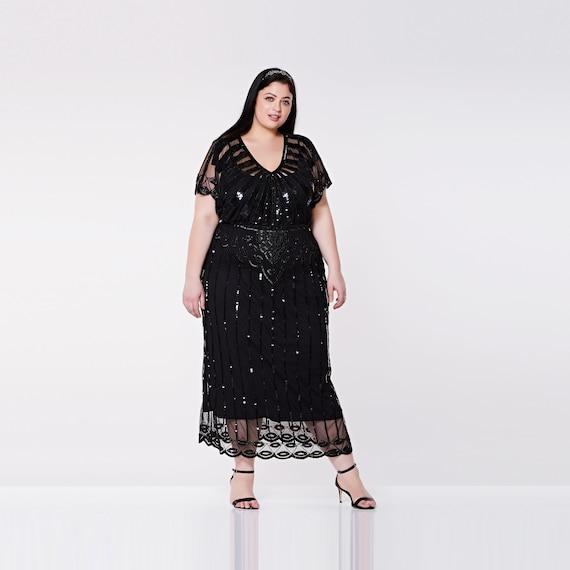 US20 UK24 AUS24 EU52 Black Angel Sleeve Plus Size Prom Maxi Dress 20s Black  Tie Flapper Gatsby Charleston Downton Abbey Art Deco Bridesmaids