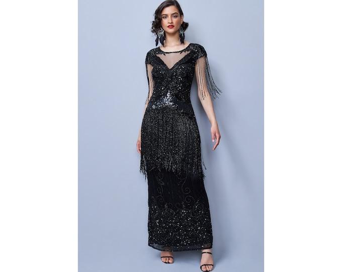 Black Ethel V-Neck See-through Illusion Neckline Frills Long Maxi Wedding Gown Prom Dress 1920s Great Gatsby Art Deco Downton Abbey Bridal