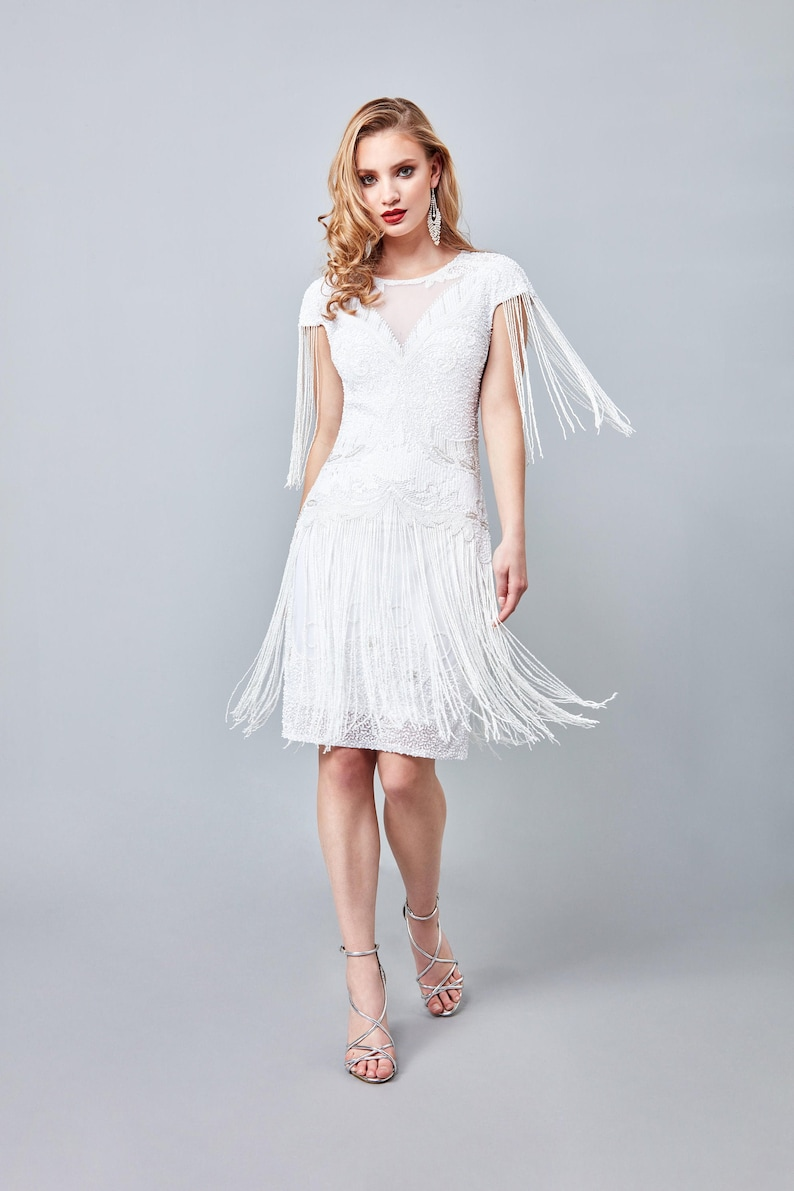 1920s Wedding Dresses- Art Deco Wedding Dress, Gatsby Wedding Dress Sybil Wedding Fringe Dress 1920s Vintage inspired Great Gatsby Art Deco Charleston Downton Abbey Bridesmaid Bridal $173.02 AT vintagedancer.com
