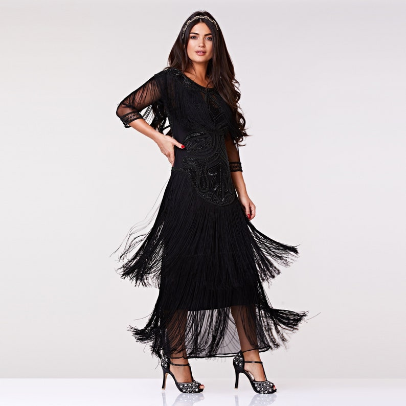 82ba09492e1 Glam Gown Black Prom Maxi Dress with Sleeves 20s Flapper Great Gatsby  Formal Speakeasy Wedding Reception Bridesmaids prom