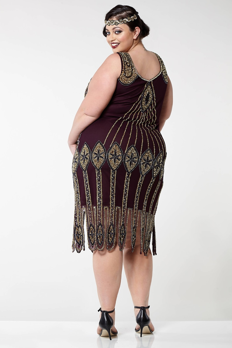 Victorian Plus Size Dresses | Edwardian Clothing, Costumes Plus size Molly Purple Plum Flapper Dress 20s Great Gatsby Downton Abbey Bridesmaid Wedding guest Homecoming Black Tie Jazzage Handmade $116.32 AT vintagedancer.com