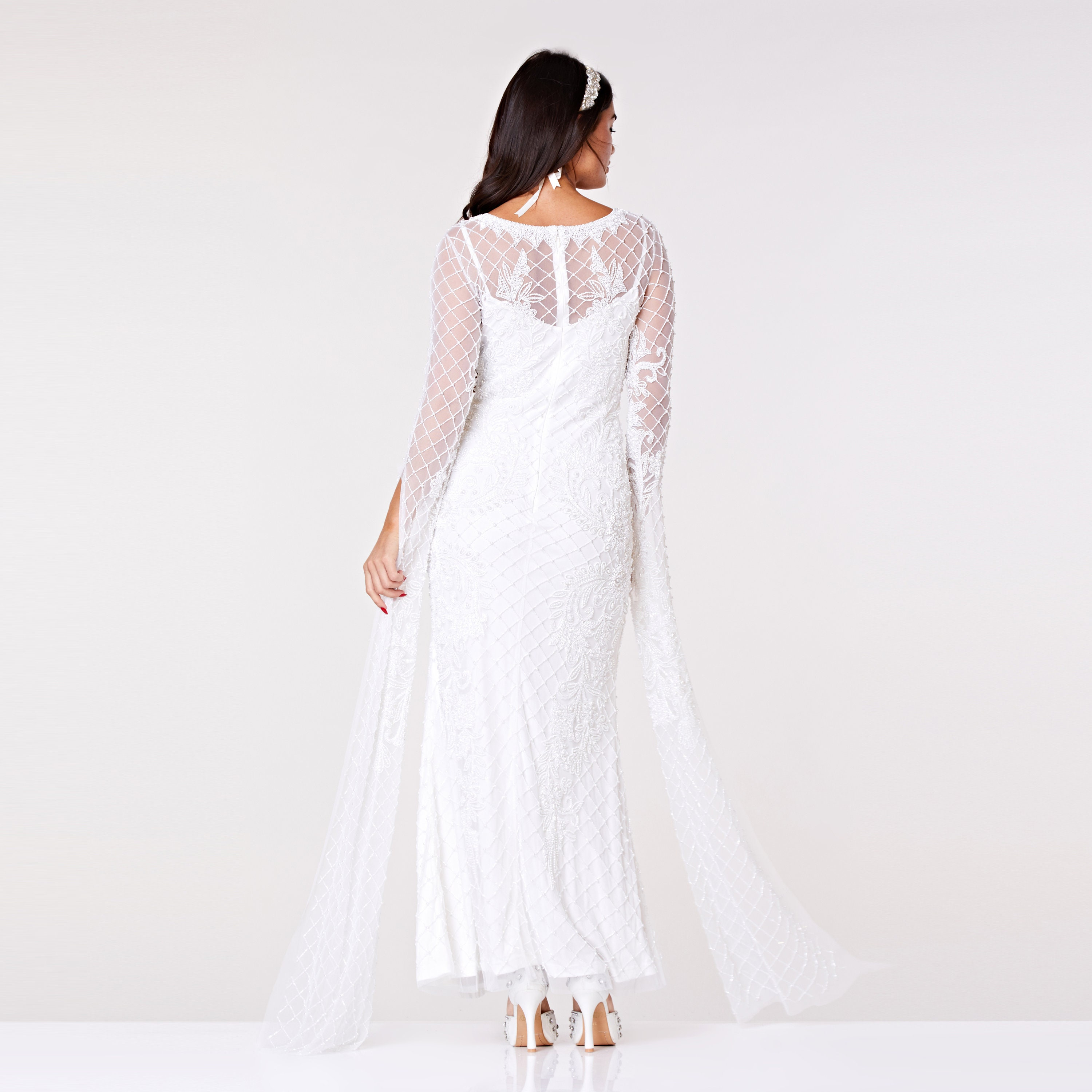 Eugine White Wedding Gown Prom Maxi Dress With Long Sleeves 20s Flapper Great Gatsby Formal Speakeasy Wedding Reception Bridesmaids Prom,Classy Formal Wedding Guest Dresses