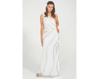 CocoSingle ShoulderMaxi Dress in White 20s Great Gatsby Art Deco Downton Abbey Charleston Bridesmaid Wedding reception Bridal shower