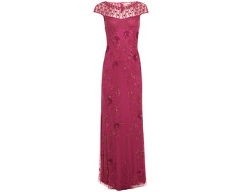 Plus Size US22 UK26 AUS26 EU54 Raspberry Elizabeth Gown Prom Maxi Homecoming Dress 1920s Gatsby Mother of the Bride Bridesmaid Wedding Guest