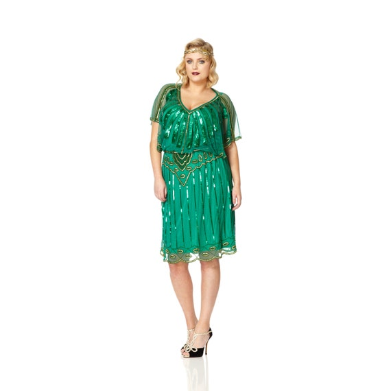 Plus Size Angel Sleeve Emerald Green 20s Flapper Great Gatsby Charleston  Downton Abbey Wedding Guest Bridesmaid Jazz age party Dress
