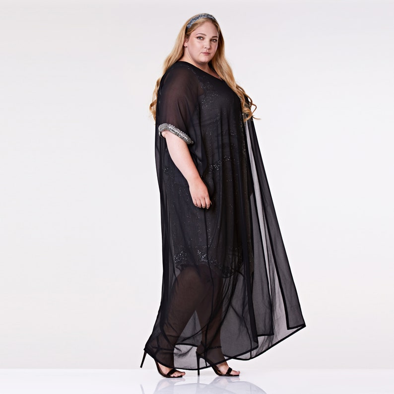 1960s Style Clothing & 60s Fashion Plus Size Dee Black Long Maxi Prom Kaftan 1920s Great Gatsby Art Deco Downton Abbey Charleston Bridesmaid Wedding reception Bridal shower $84.47 AT vintagedancer.com