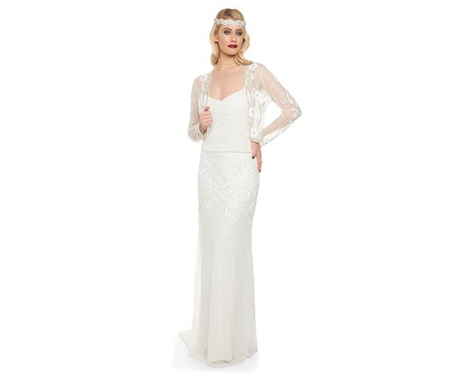 US2 UK6 AUS6 EU34 Off White 20s inspired Tess Flapper Wedding Jacket Bolero Great Gatsby Art Deco Downton Abbey Hand embellished Shrug cape