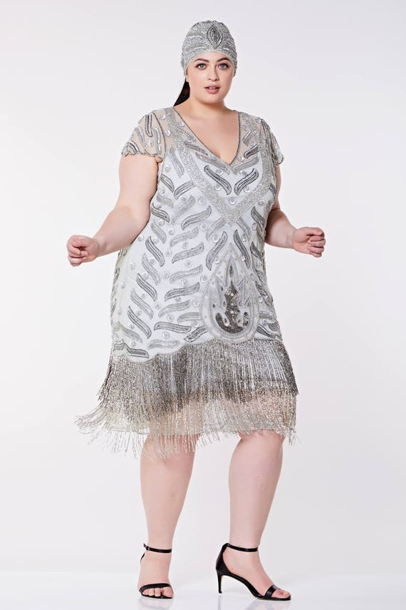 Vegas Grey Silver Plus Size Flapper Dress Slip Included 1920s Etsy