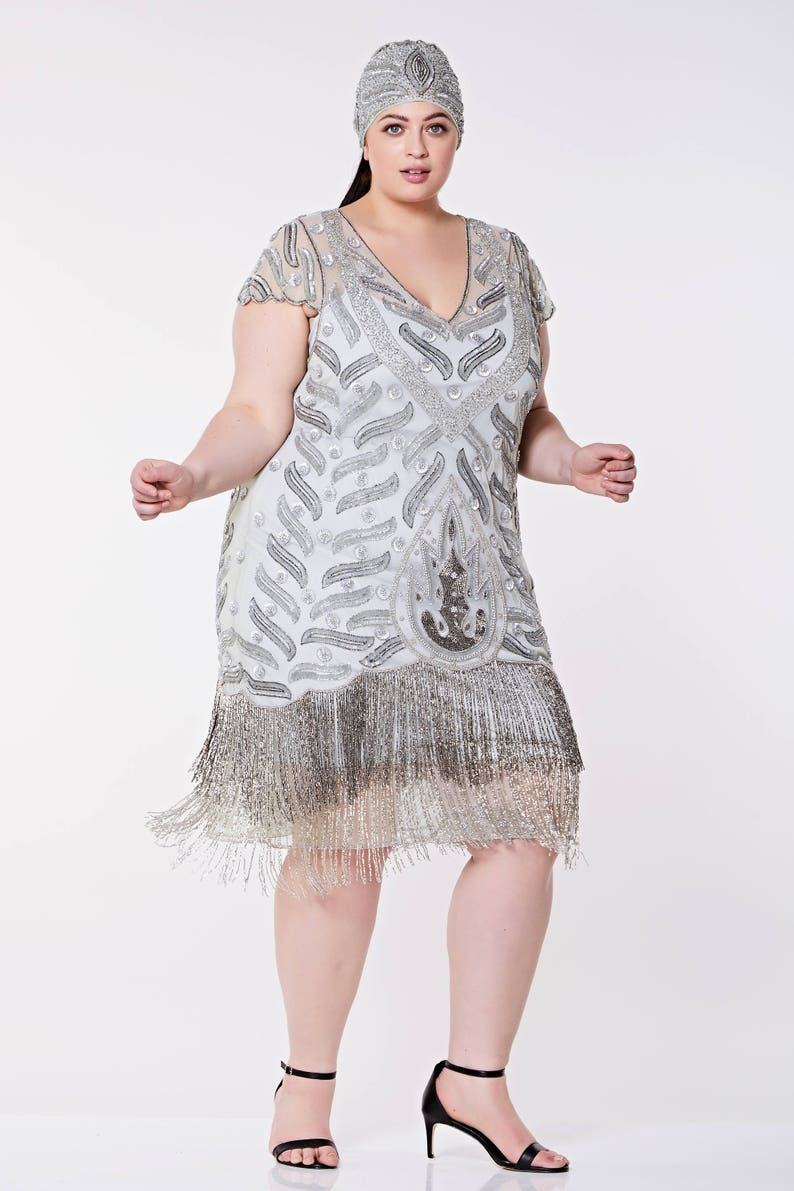 88b1c51fa0b Vegas Grey Silver Plus Size Flapper Dress Slip Included 1920s