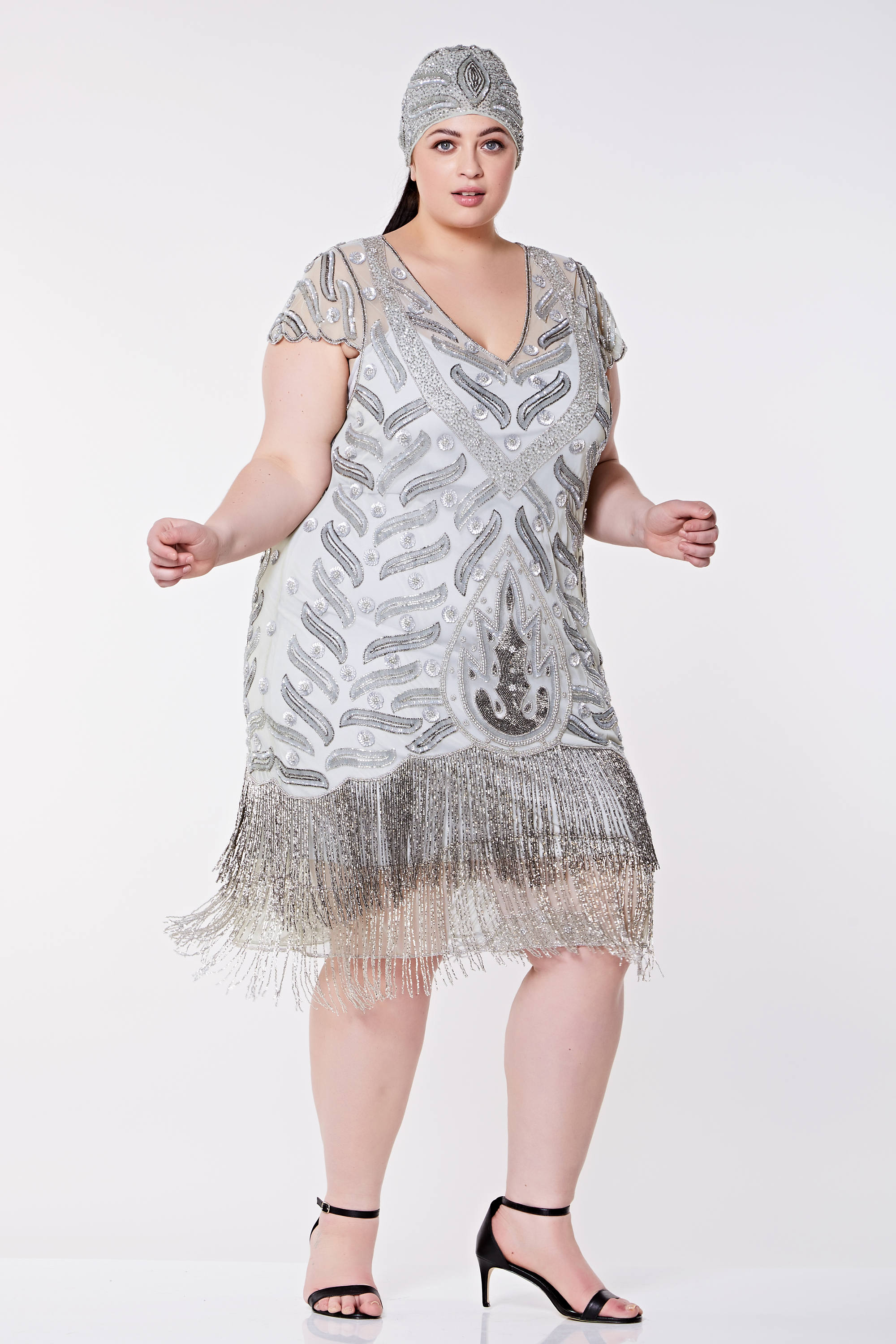 Vegas Grey Silver Plus Size Flapper Dress Slip Included ...