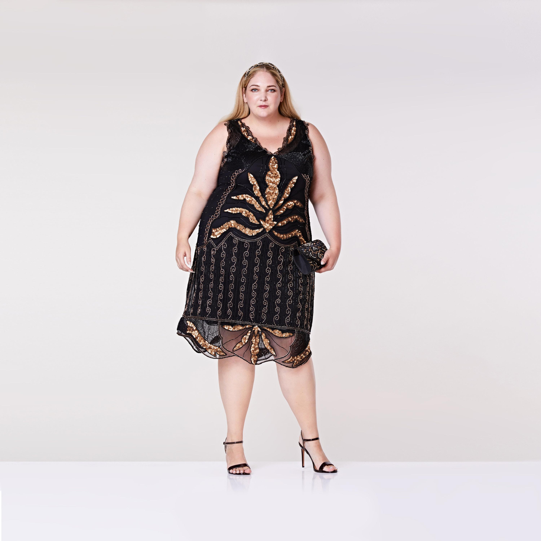 Plus Size Elsa Black Midi Length Flapper Dress Slip inc 20s ...