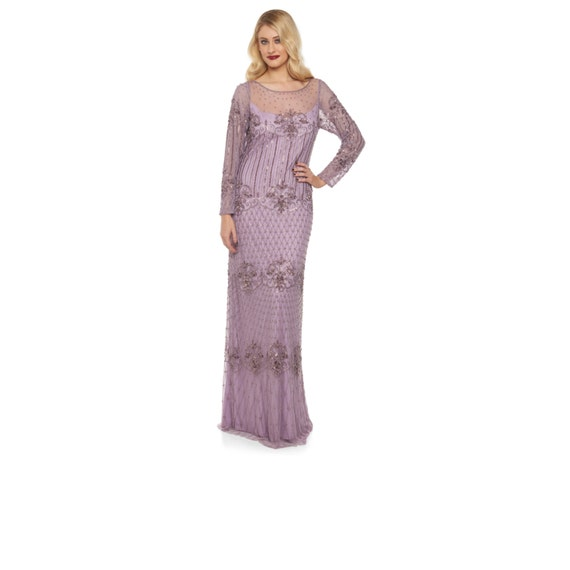 Plus Size Lavender Lilac Prom Maxi Dress With Sleeves Dolores 20s Inspired Flapper Great Gatsby Downton Abbey Wedding Bridesmaids Homecoming