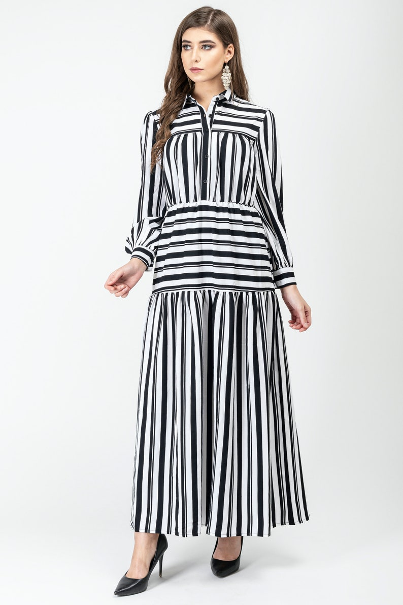 Old Fashioned Dresses | Old Dress Styles Gatsbylady Zohre Elegant Designer handmade Shirt Dress in White and Black Stripes Maxi Dress Great Gatsby Art Deco Downton Abbey Charleston $39.21 AT vintagedancer.com
