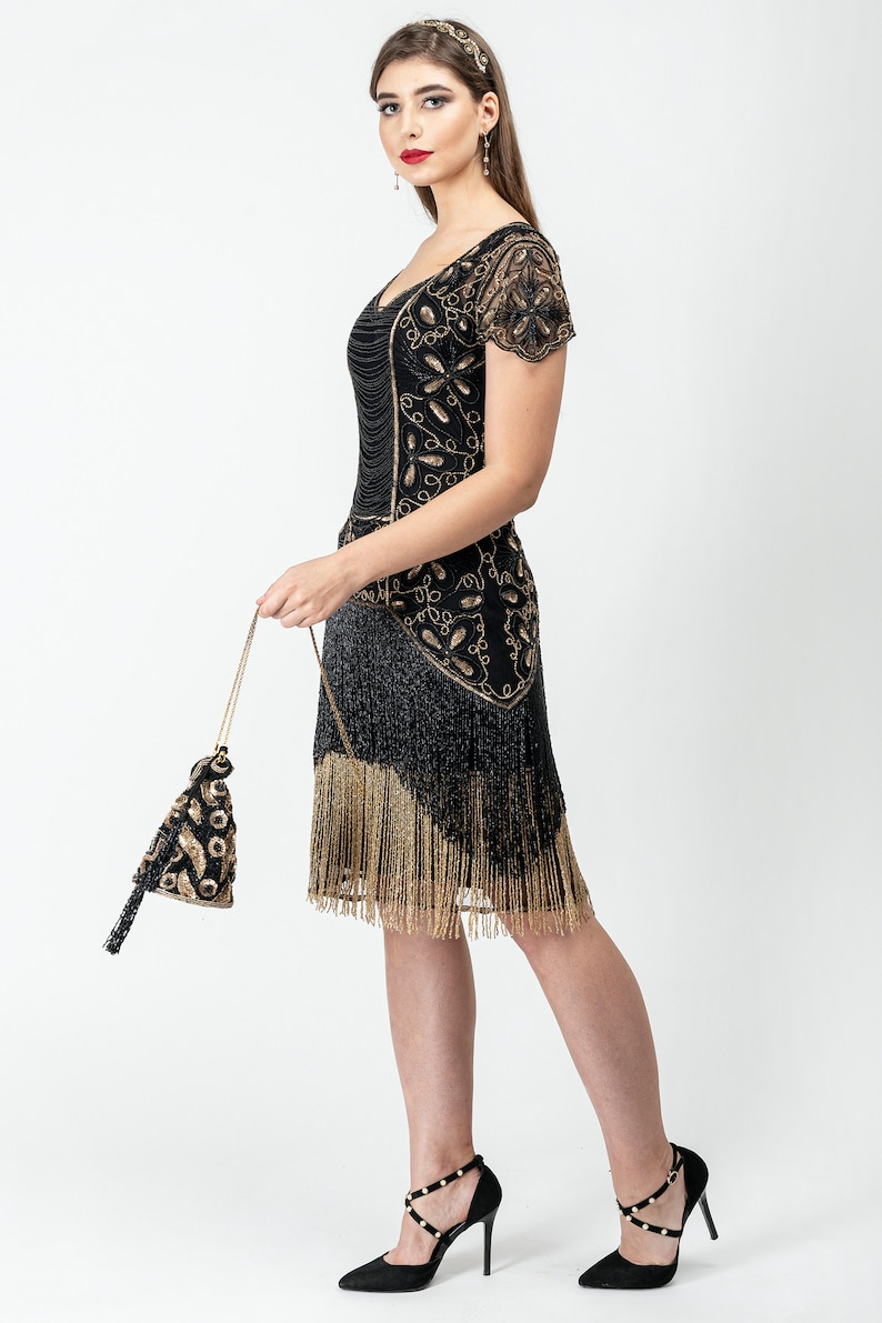 1920s Style Dresses, 20s Dresses Edith Black Gold Fringe Flapper Dress Slip Included 20s Great Gatsby Art Deco Charleston Downton Abbey Bridesmaid Wedding $181.68 AT vintagedancer.com