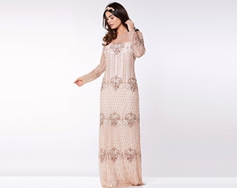 US12 UK16 AUS16 EU44 Champagne Prom Maxi Dress with Sleeves Dolores 20s Flapper Great Gatsby Downton Abbey Wedding Bridesmaids Homecoming