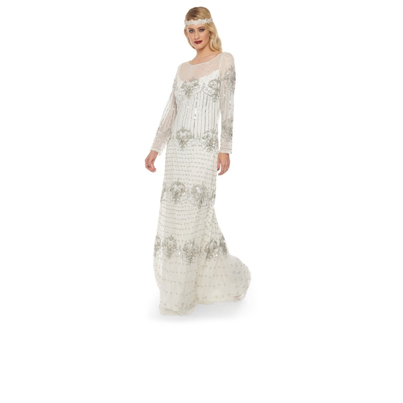 2c94f4bd140 White Silver Wedding Gown Prom Maxi Dress with Sleeves 20s