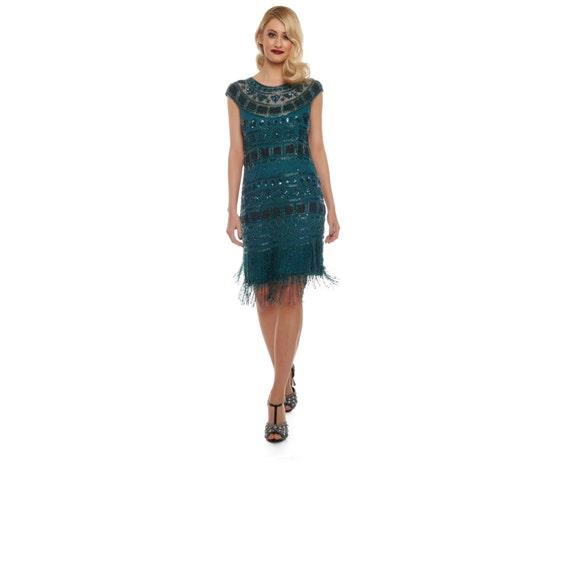 Wald grün Flapper Beverley Fransen Kleid 20er Jahre große