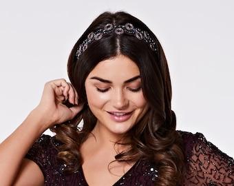 Purple Plum Eliza Great Gatsby Flapper Wedding Headband Vintage inspired 20s Beaded Charleston Downton Abbey Wedding Art Deco New HandMade