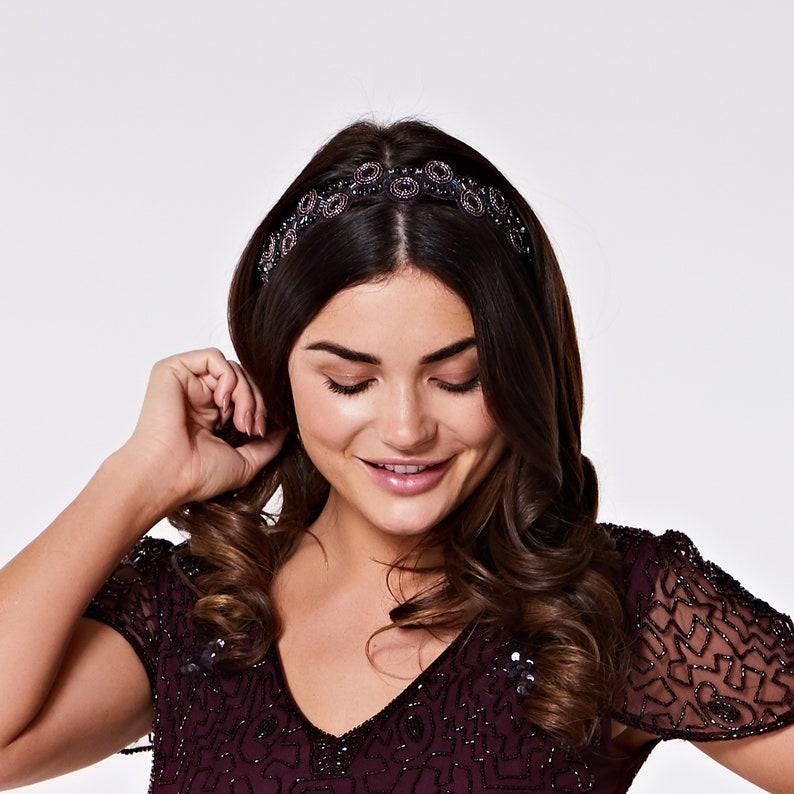 Purple Plum Eliza Great Gatsby Flapper Wedding Headband image 0