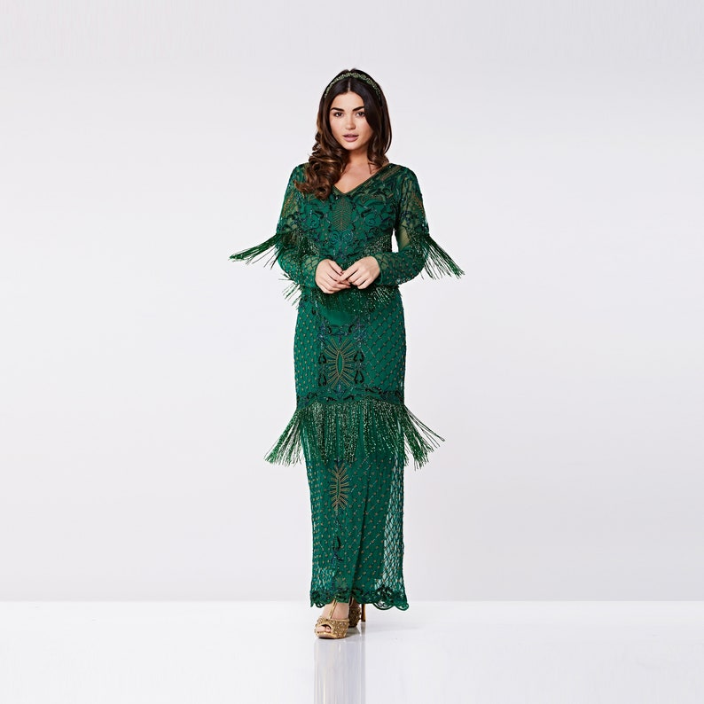 4a54e186974 Orla Gown Green Prom Maxi Dress with Sleeves 20s Flapper Great