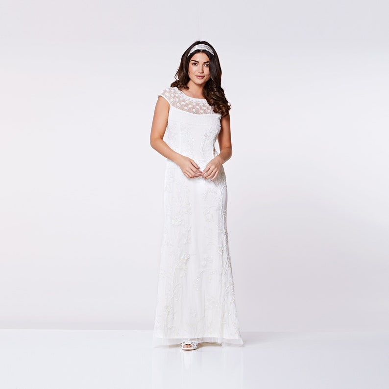83f10005694 Plus Size White Silver Wedding Gown Prom Maxi Dress with