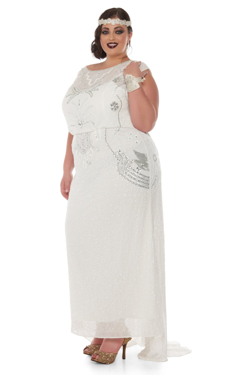 Plus size Isla Off White Art Deco Wedding Gown Dress ...
