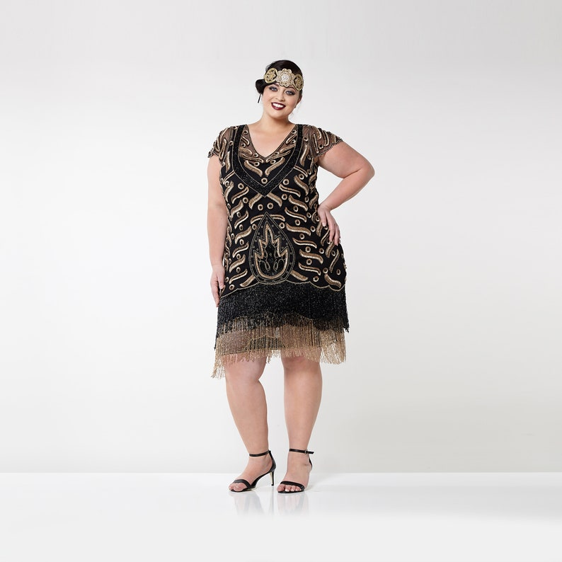 c7cd1a289f2 Plus Size Vegas Black Gold Flapper Dress Slip Included 20s